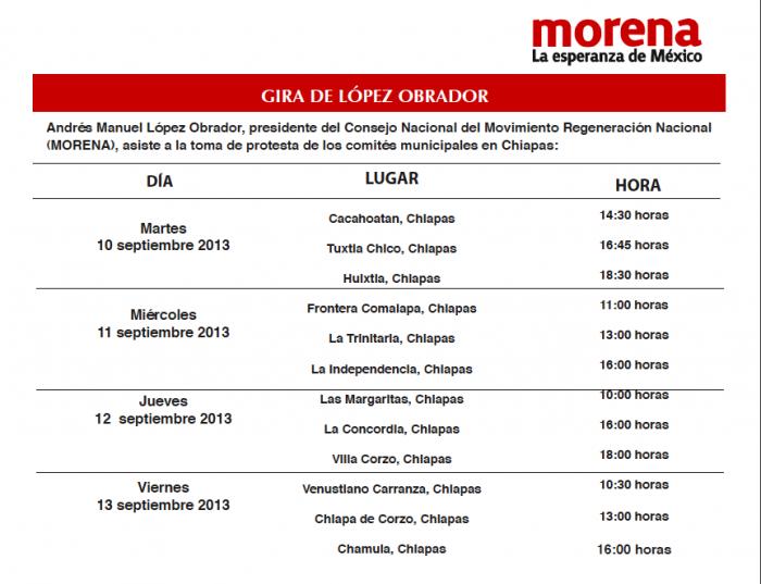 Gira AMLO por Chiapas 10-15 de septiembre 2013