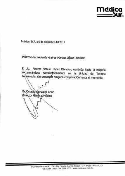 López Obrador recuperándose satisfactoriamente