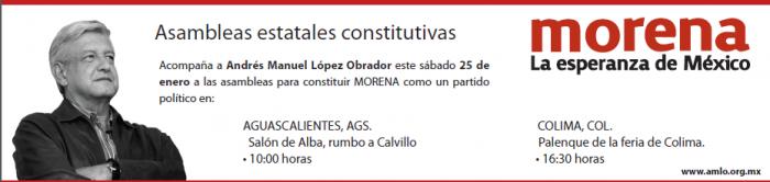 Sábado 25 de enero, asamblea de MORENA en Aguascalientes y Colima