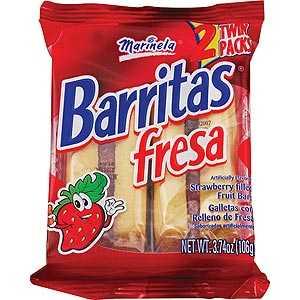 ¿Cuáles son los ingredientes de las Barritas de fresa Marinela?