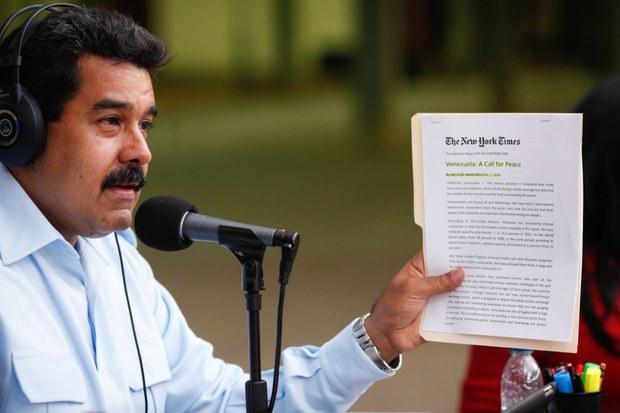 Estados Unidos apoya a la oposición: Maduro en el New York Times