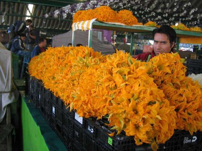 Flores de Calabaza en un mercado en la Ciudad de México Foto: Internet