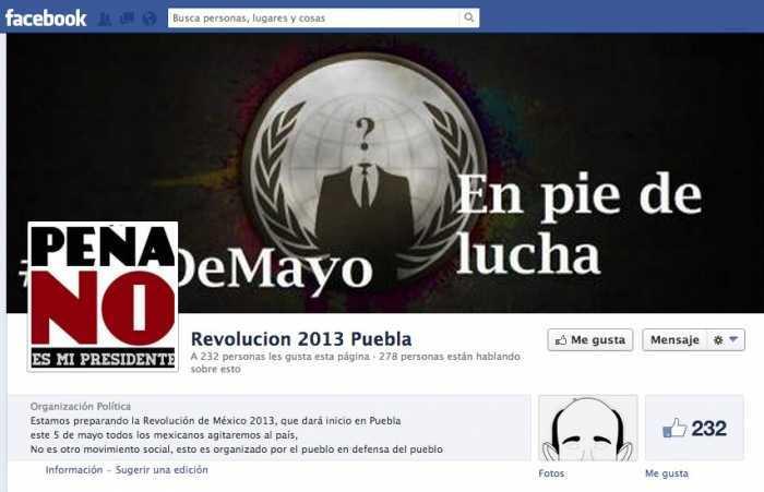 Página de Facebook #Op5deMayo que convocaba a manifestación pacífica