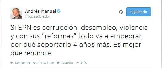 Peña Nieto debe renunciar, no hay necesidad de soportar 4 años más: AMLO