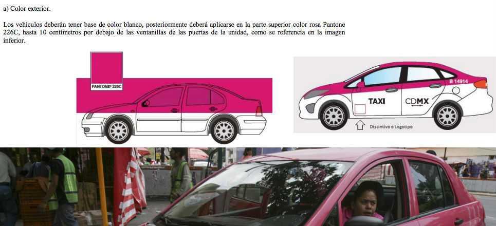 Taxis del DF serán de color blanco y rosa