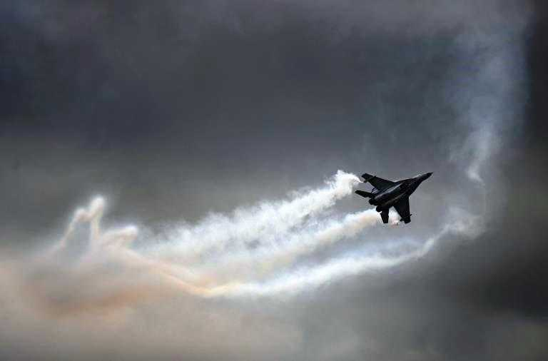 Un caza ruso MIG-35 en un show internacional aeronáutico en Moscú el 20 de agosto de 2009