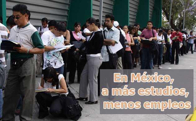 Mexicanos con más estudios, los más desempleados: OCDE