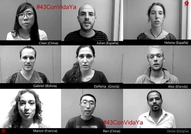 Clamor de estudiantes del mundo por Ayotzinpa #43ConVidaYa (VIDEO)