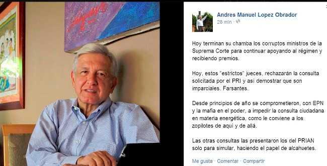 Ministros terminan chamba y recibirán premios de Peña Nieto: AMLO