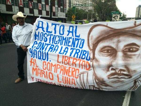 La tribu Yaqui presente en la marcha.  Foto: @Cheetos256