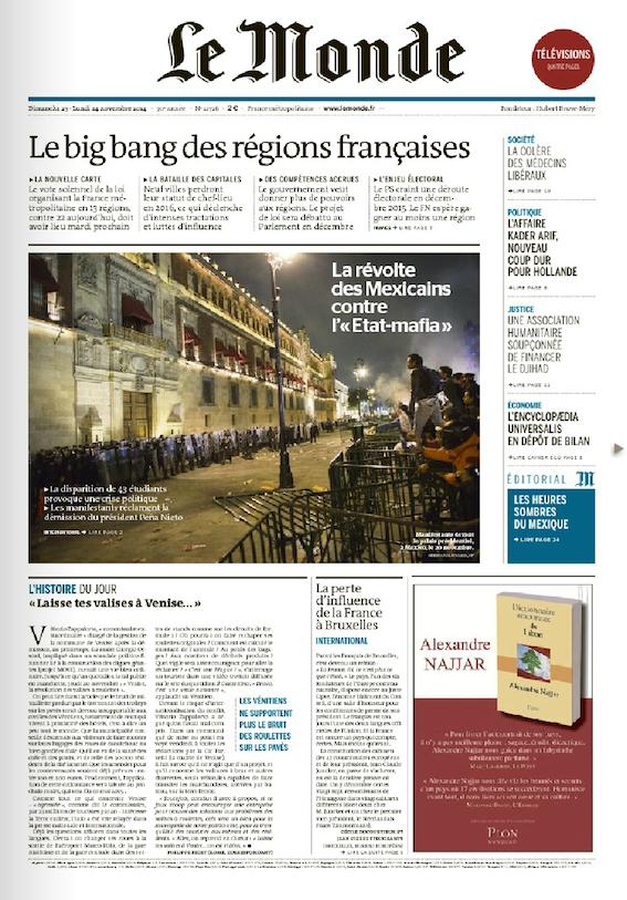 """Le Monde: """"Revuelta de los mexicanos contra Estado-mafia"""""""