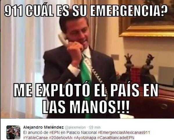 Responden a EPN:  #911EPNrenuncia #TuNOeresAyotzinapa