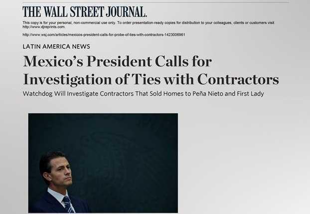 The Wall Street Journal cuestiona a Peña Nieto por nombramiento Virgilio Andrade