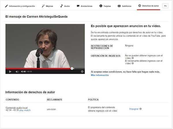Mensaje de Aristegui en Youtube, bloqueado en algunos países