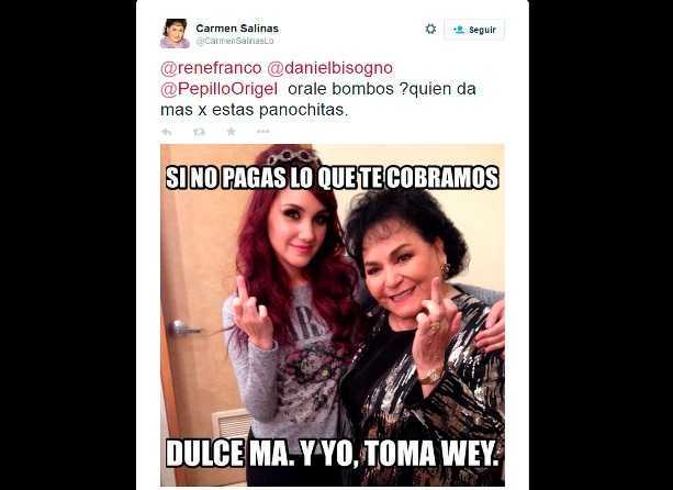 Carmen Salinas difunde mensaje que denigra a Delfina Gómez por ser humilde