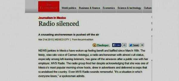 "Caso Aristegui, The Economist dice ""Radio Silenciada"""