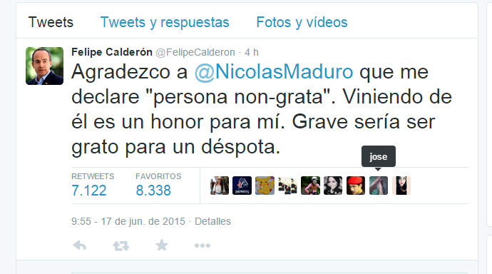 """Felipe Calderón llama """"déspota"""" a Nicolás Maduro"""