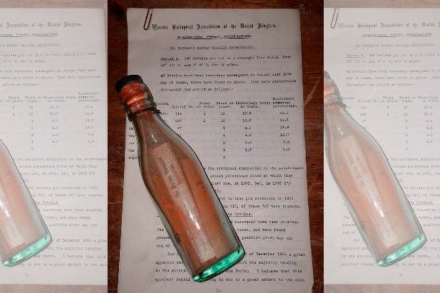Hallan mensaje en botella arrojada al mar hace 108 años