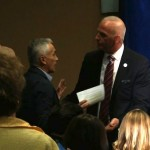 "A member of security for presidential candidate Donald Trump escorted Univision anchor Jorge Ramos from a press conference in Dubuque, Iowa on Tuesday, August 25, 2015. Trump told Ramos to ""go back to Univsion"" after Ramos repeatedly tried to ask a question bout immigration."