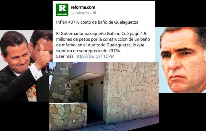 Baños Reforma Oaxaca:Gabino Cué mandó a construir baño de 15 millones para su uso