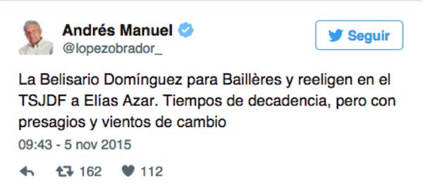 Tiempos de decadencia, medalla Belisario Domínguez para Baillères: AMLO
