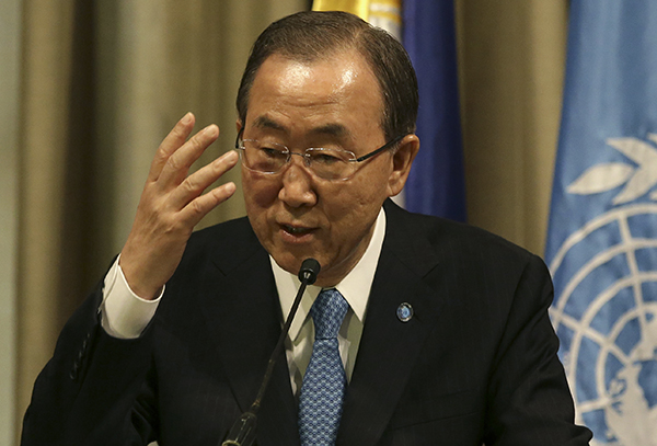 United Nations Secretary-General Ban Ki-moon gestures during a press conference in Makati, south of Manila, Philippines on Sunday Dec. 22, 2013. Ban expressed grave concern about the deteriorating security situation in South Sudan and demanded an end to violence there. (AP Photo/Aaron Favila)