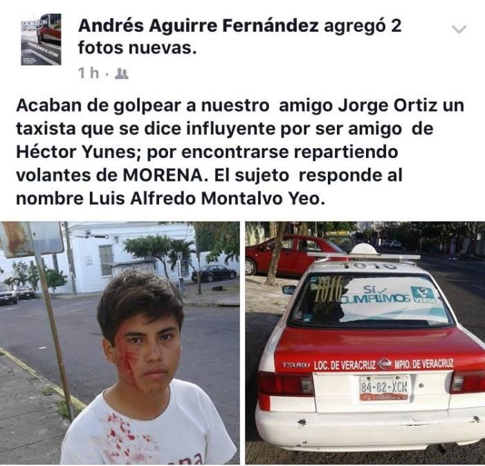 Taxista del PRI golpea a joven en Veracruz