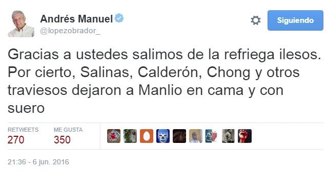 """AMLO trolea a Beltrones: """"dejaron a Manlio en cama y con suero"""""""