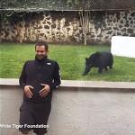 Pantera intenta sorprender a un hombre por la espalda (video)