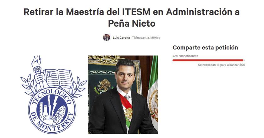 Tec de Monterrey colecta firmas para retirar maestría a Peña Nieto pena nieto