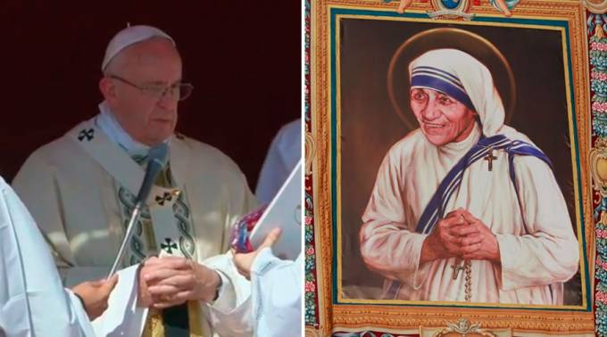 Francisco canonizó a la Madre Teresa