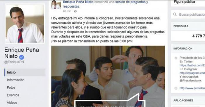 """Peña responderá las """"preguntas más votadas"""" en Facebook durante informe"""