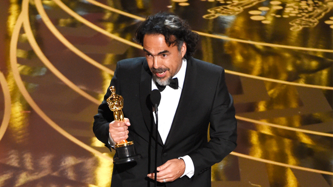 "Alejandro G. Inarritu accepts the award for best director for ""The Revenant"" at the Oscars on Sunday, Feb. 28, 2016, at the Dolby Theatre in Los Angeles. (Photo by Chris Pizzello/Invision/AP)"