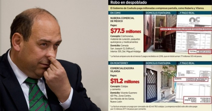 Moreira paga decenas de millones de pesos del erario a empresas fantasma