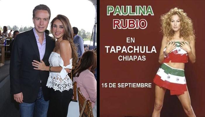 Manuel Velasco y Anahí contratan a Paulina Rubio para Grito en Chiapas