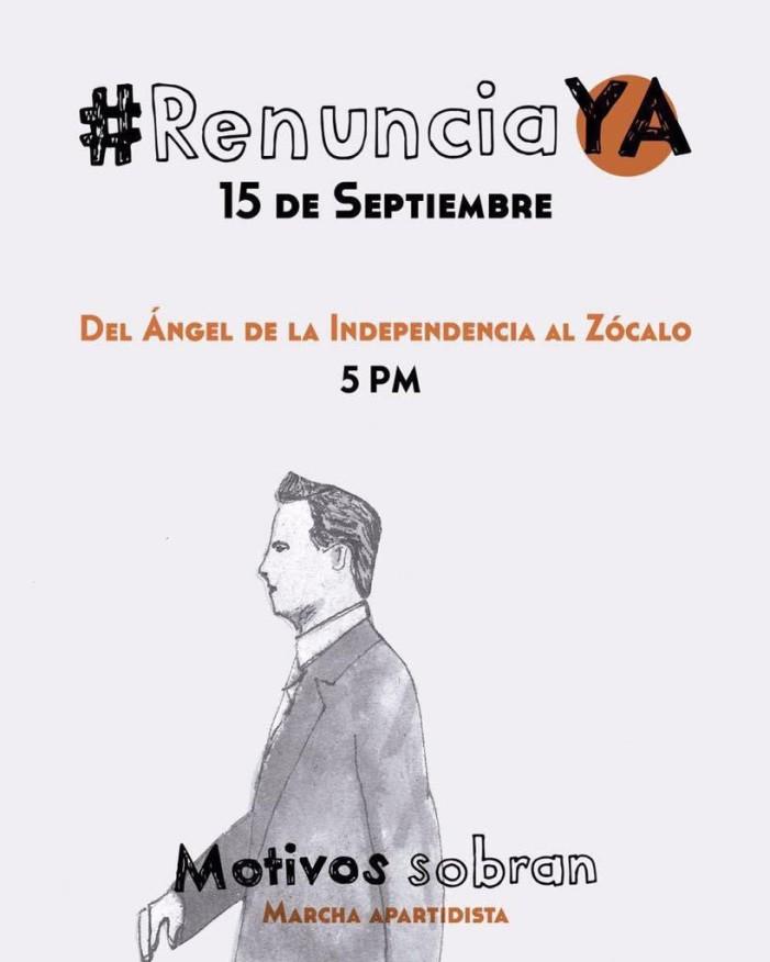 Convocan a marcha el 15 de septiembre para exigir RENUNCIA YA a Peña