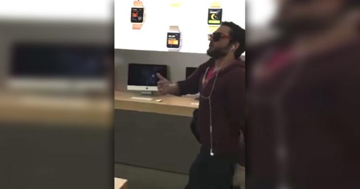 Hombre destruye iPhone tras iPhone en tienda de Apple (Video)