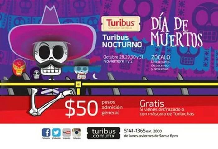 Turibus nocturno será gratuito por Día de Muertos