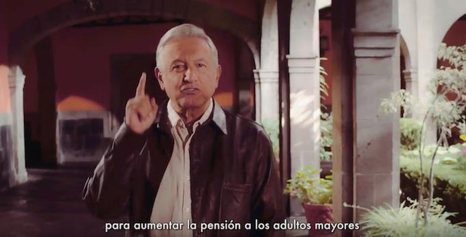 AMLO lanza nuevo spot, propone aumentar pensión para adultos mayores
