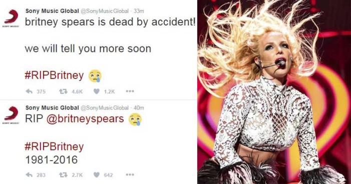 Hackers anuncian falsa muerte de Britney Spears con cuenta de Sony Music