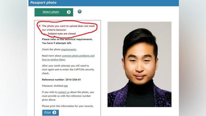 """Asiático es rechazado por programa de pasaportes por """"tener los ojos cerrados"""""""