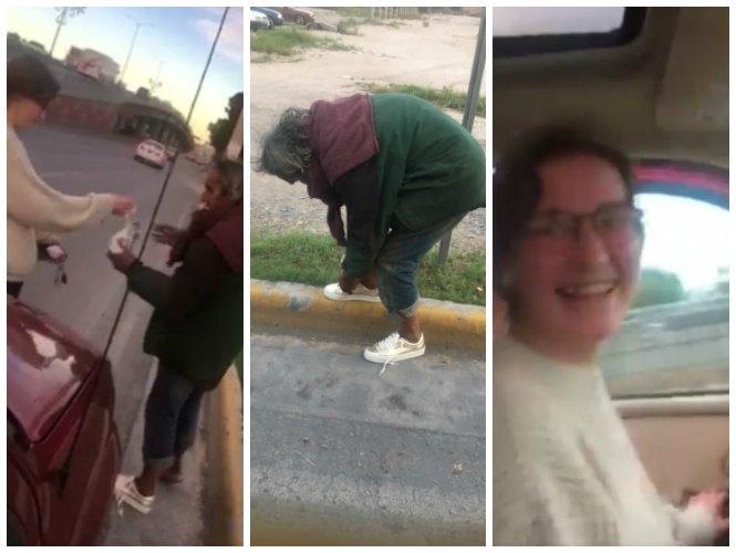 Mujer le regala sus tenis a indigente (video)