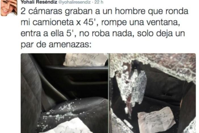 Rompen vidrios de camioneta de periodista y le dejan amenazas