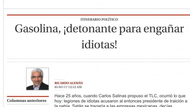 Páramo y Alemán llaman 'idiotas' a quienes se oponen al gasolinazo