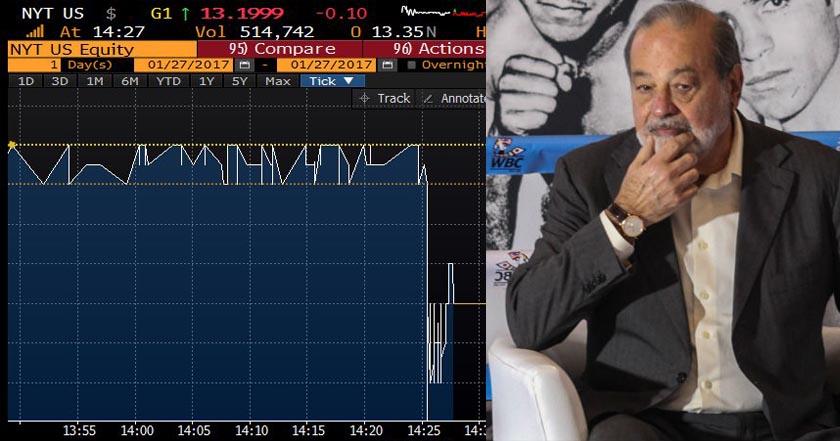 Confusa rueda de prensa le cuesta a Carlos Slim una caída en acciones de New York Times