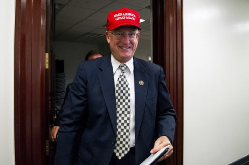 "FILE - In this Nov. 15, 2016, file photo, Rep. Mike Conaway, R-Texas, wearing a ""Make America Great Again"" hat leaves a House Republican leadership meeting on Capitol Hill in Washington. House Republicans are laying the groundwork for a fresh effort to overhaul the nation's food stamp program during Donald Trump's presidency, with the possibility of new work and eligibility requirements for millions of Americans. (AP Photo/Cliff Owen, File)"