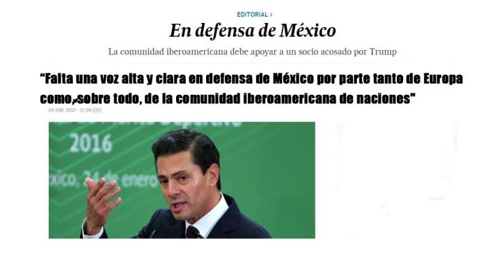 Diario El País, llama a Europa y América Latina defender a México