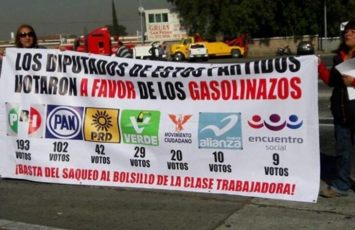 PRI, PAN, PRD, PVEM, MC, Panal y PES ahora reniegan gasolinazo que aprobaron