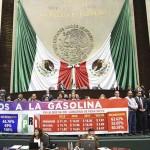 Morena protesta en la Cámara de Diputados por gasolinazo
