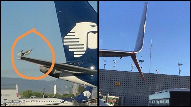 Reportan choque de alas entre aviones de Aeroméxico